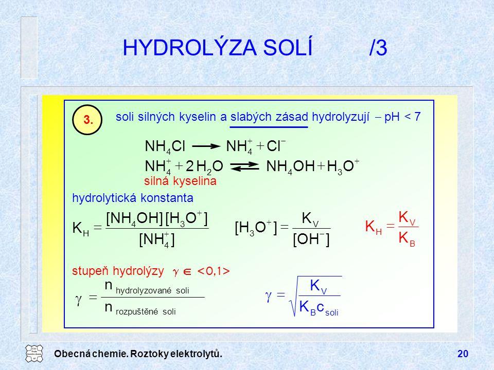 HYDROLÝZA SOLÍ /3 K = n  c O OH NH + Cl ] [NH [H OH] [OH